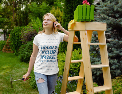 T-Shirt Mockup of a Woman Listening to Music While Doing Some Gardening 44051-r-el2