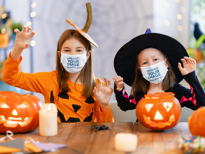 Face Mask Mockup Featuring Two Little Girls with Halloween Costumes 44280-r-el2
