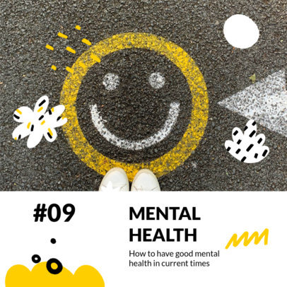 Mental-Health Podcast Cover Creator with a Happy Face Graphic 3066f-el1
