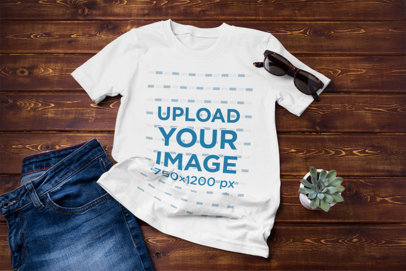 T-Shirt Mockup Featuring a Jeans Outfit and a Succulent Pot 43054-r-el2