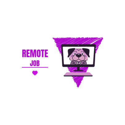 Remote Job Logo Template Featuring a Dog on a Computer 3786j