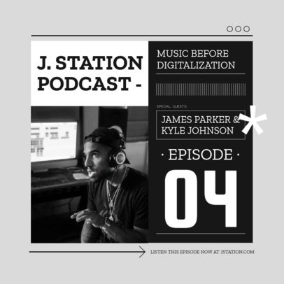 Music-Themed Instagram Post Design Template for a Podcast Profile 3070f-el1