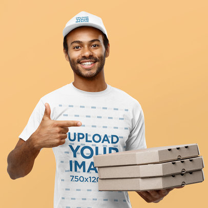 Dad Hat and T-Shirt Mockup Featuring a Pizza Delivery Guy 44175-r-el2