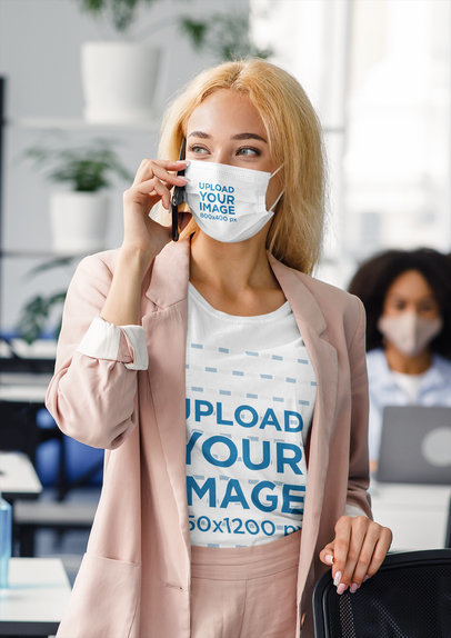 T-Shirt and Face Mask Mockup Featuring a Woman on the Phone at Work 44068-r-el2