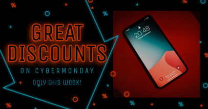 Facebook Post Design Template for Great Cyber Monday Discounts 3102g