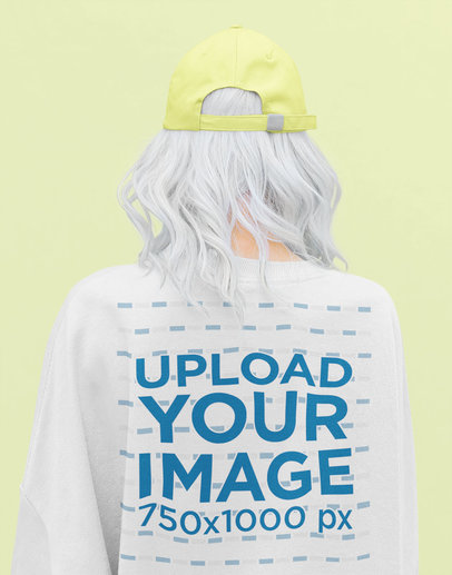 Back View Mockup of a Silver-Haired Woman Wearing a Sweatshirt at a Studio 40260-r-el2
