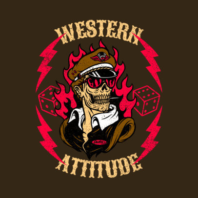 Rockabilly-Styled Logo Template Featuring an Undead Captain Cartoon 3799a