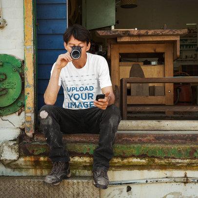 T-Shirt Mockup of a Worker Taking a Break 42324-r-el2