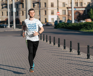 Sublimated T-Shirt Mockup of a Man Jogging on the Street 44012-r-el2