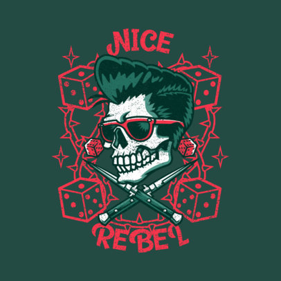 Logo Creator Featuring a Skull with a Rockabilly Hairstyle 3799e