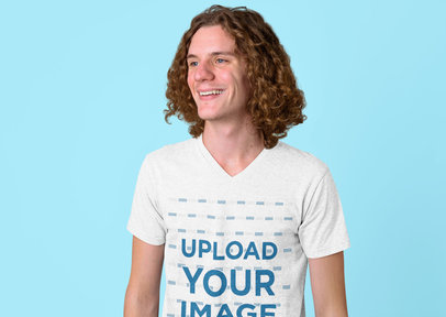 Heathered V-Neck T-Shirt Mockup of a Long-Haired Man in a Studio 44411-r-el2