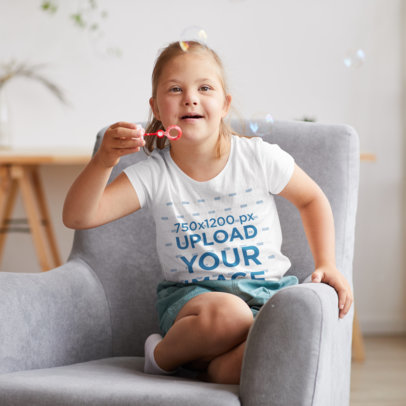 T-Shirt Mockup of a Girl Playing with Bubbles at Home 43006-r-el2