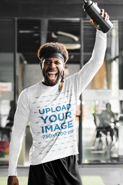 Long-Sleeve Tee Mockup of a Man Excited During a Workout 42317-r-el2
