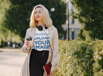 Tee Mockup of a Trendy Woman Walking on Street 43848-r-el2