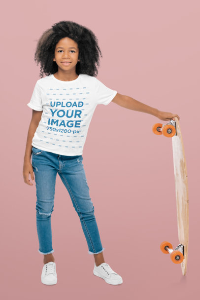 T-Shirt Mockup of a Little Skater Girl in a Studio 44544-r-el2