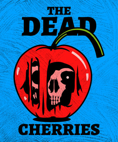 Illustrated T-Shirt Design Maker Featuring Fruits and Skulls 3127