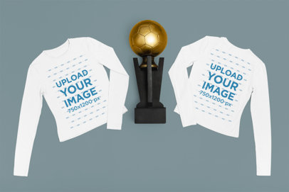 Soccer-Themed Mockup Featuring the Front and Back of a Long Sleeve Tee m324