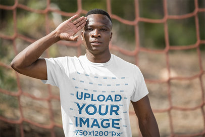 T-Shirt Mockup Featuring a Recruit at a Training Camp 40465-r-el2