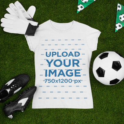 T-Shirt Mockup Featuring a Soccer Ball and Gloves m380