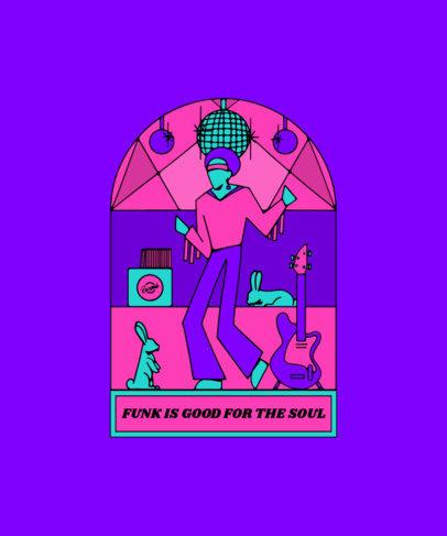 T-Shirt Design Template Featuring a Funk Singer 3128c