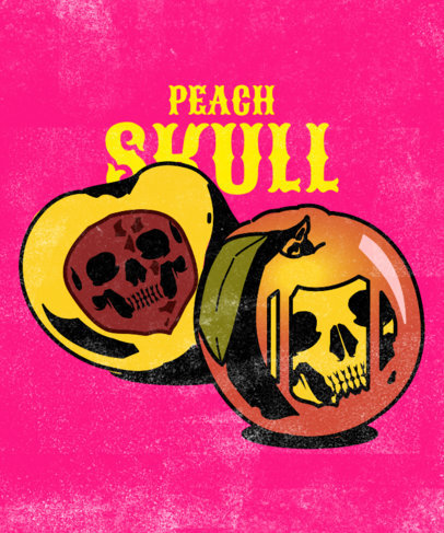 T-Shirt Design Maker for a Metal Band Featuring a Deadly Peach Clipart 3127c