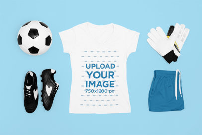 T-Shirt Mockup Featuring a Soccer Uniform for Women m309