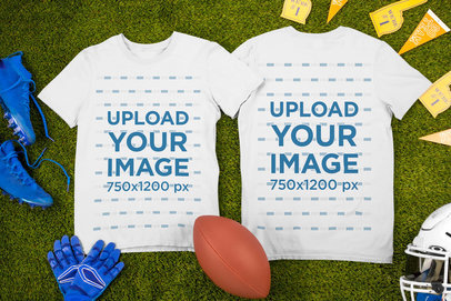 Mockup of Two Round Neck T-Shirts Lying by Football Garments m331