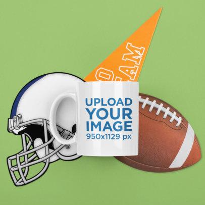 11 oz Mug Mockup Featuring Football Elements m367