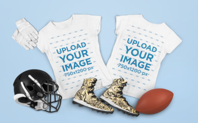 Mockup Featuring Both Sides of a Basic T-Shirt and Some Football Equipment m339
