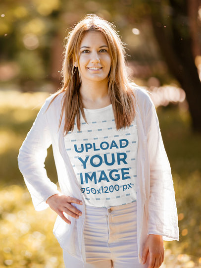 Mockup of a Woman with a Basic Tee Posing in a Park 44312-r-el2
