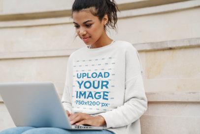 Crewneck Sweatshirt Mockup of a Young Woman Using a Computer 43993-r-el2