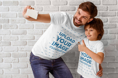 T-Shirt Mockup of a Dad and His Son Taking a Selfie 44919-r-el2