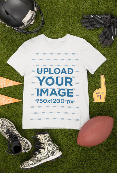 Mockup of a Round Neck T-Shirt Surrounded by Football Garments m355