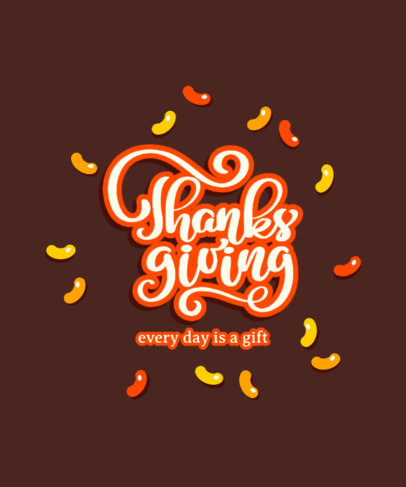 Lettering T-Shirt Design Template Featuring a Happy Thanksgiving Quote 3150e-el1