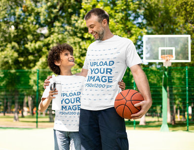 T-Shirt Mockup Featuring a Father and His Son Laughing at a Basketball Court 43108-r-el2