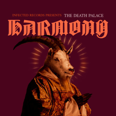 Album Cover Maker for a Heavy Metal Band with a Demonic Goat Graphic 3146c