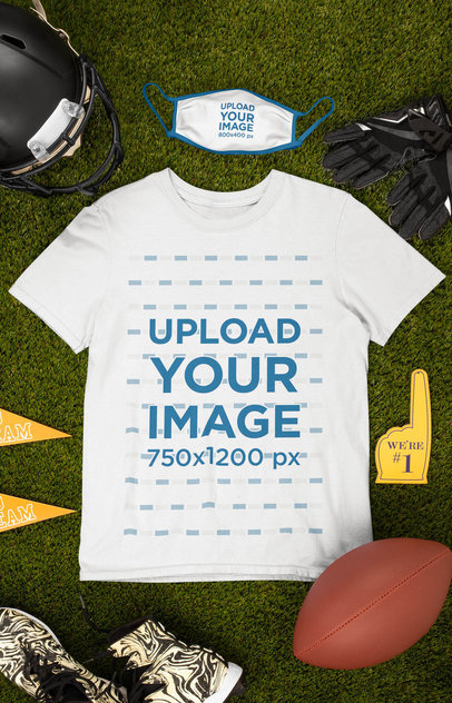 Mockup of a Round Neck Tee and a Face Mask Surrounded by Football Equipment m363