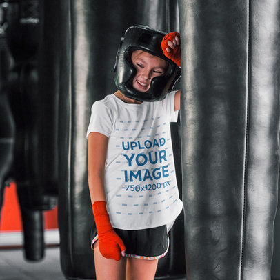 Activewear T-Shirt Mockup of a Girl Resting During Boxing Class 44753-r-el2