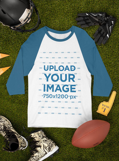 Mockup of a Raglan 3/4 Sleeve Tee Surrounded by Football Equipment m357