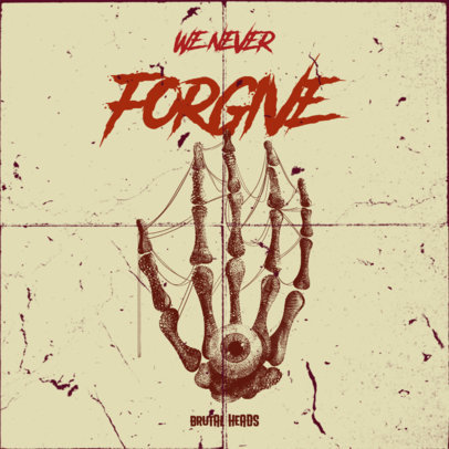 Album Cover Template for a Punk Band Featuring a Bone Hand Illustration 3145b