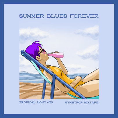Album Cover Generator for a J-Pop Singer with a Summer Lo-Fi Illustration 3141b