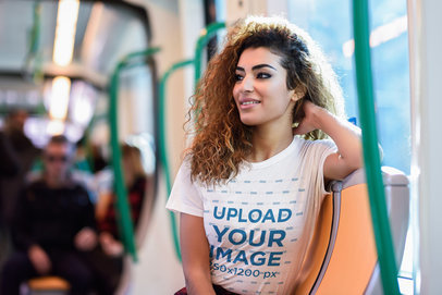 T-Shirt Mockup of a Woman Taking the Subway to Go Home 43320-r-el2