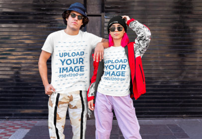 T-Shirt Mockup of a Couple with a Hype Outfit m514