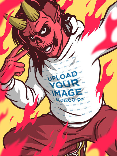 Illustrated Hoodie Mockup Featuring a Devil on Fire m803