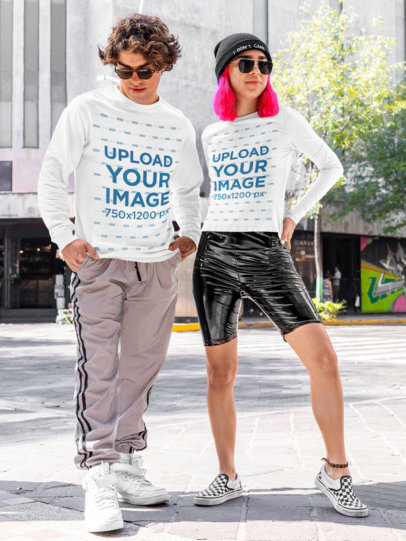 Long Sleeve Tee Mockup of a Man and a Woman Modeling Trendy Urban Outfits m518