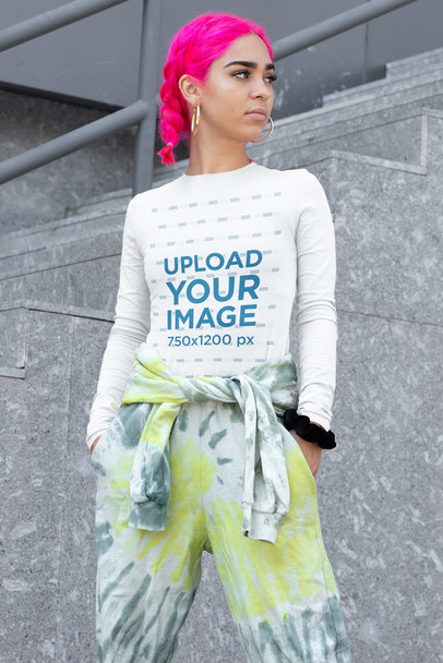 Long Sleeve Tee Mockup of a Pink-Haired Woman in a Streetwear Outfit m413