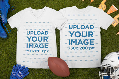 Mockup of Two V-Neck T-Shirts Surrounded by Football Equipment m329