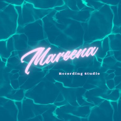 Recording Studio Logo Generator Featuring a Blue Water Background 3855e