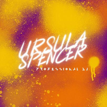 DJ Logo Template with Airbrush Splatter Graphics 3855j