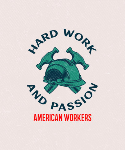 Union T-Shirt Design Template with a Working Class Theme 3179e